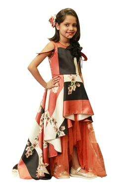 Flower print dress with hi-low hemline.