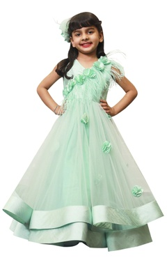 Lil Angels Layered gown with flower 3D motifs.