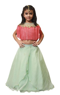 Lil Angels Orangza lehenga with coral fringe blouse