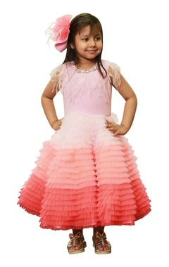 Lil Angels Shaded pink feather dress.