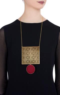 Oversized filigree pendant necklace