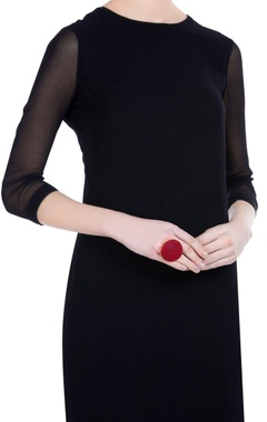 Thread embroidered oversized statement ring