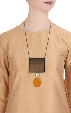 Thread embroidered & brass pendant necklace