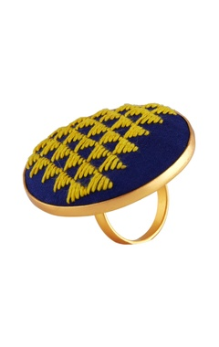 Hand embroidered circular oversized ring