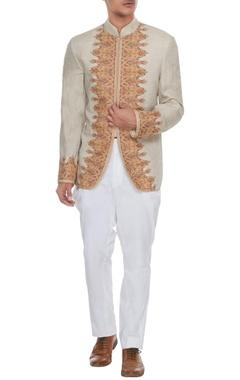 Barkha 'N' Sonzal Beige & ivory kashmiri embroidered jacket