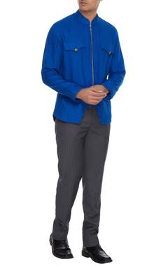 Barkha 'N' Sonzal Royal blue linen zipper style shirt