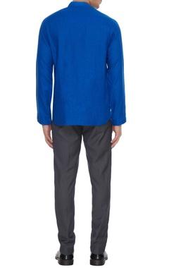 Royal blue linen zipper style shirt