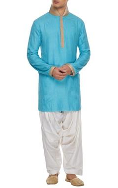 Barkha 'N' Sonzal Blue handcrafted kurta with white patiala pants
