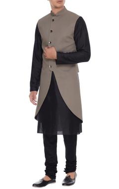 Barkha 'N' Sonzal Grey high-low cotton silk sleeveless jacket with kurta & churidar