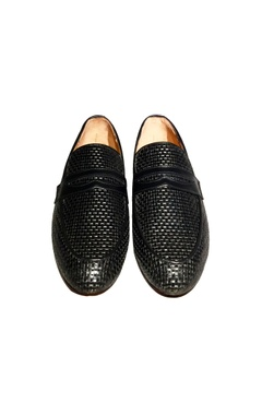 Black woven leather handcrafted penny loafer