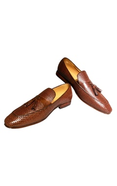 Brown pure leather tassel detail loafers