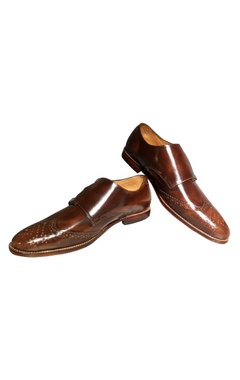 Brown pure leather d-monk strap loafers