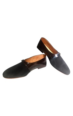 Black velvet loafers with buckle detail