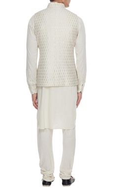 Beige chanderi banarasi & silk blend nehru jacket with kurta & churidar