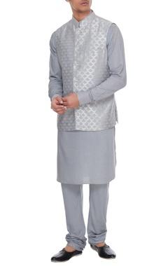 Arjan Dugal Powder blue chanderi banarasi & silk blend nehru jacket with kurta & churidar