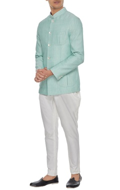 Arjan Dugal Light blue khadi cotton bandhgala