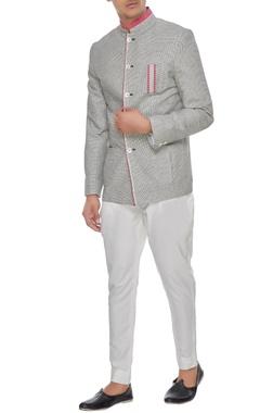Arjan Dugal Grey & pink khadi cotton chequered bandhgala