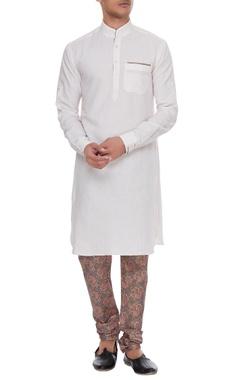 Arjan Dugal Light pink & white linen kurta with silk printed churidar