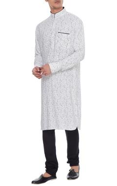 Arjan Dugal White & black cotton printed kurta with churidar