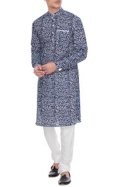 Arjan Dugal Blue & white printed cotton kurta with pants