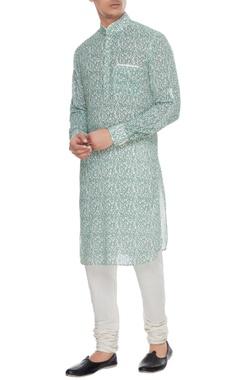 Arjan Dugal Blue printed cotton kurta with white churidar