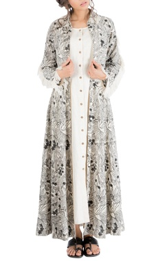 Nakita Singh Ivory tropical embroidered shirt dress with frayed edges