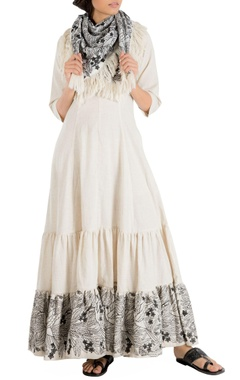 Nakita Singh Ivory khadi maxi dress with embroidered hemline