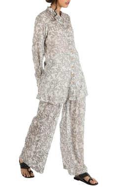 Ivory hand spun cotton scribble art embroidered pants