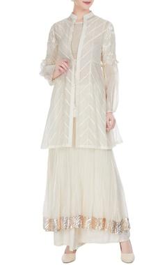 Aditi Somani White chanderi pearl & thread embroidered jacket set