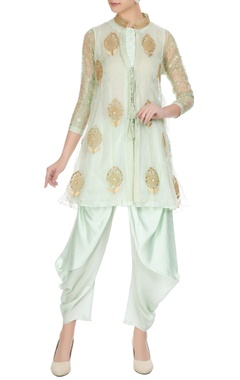 Aditi Somani Sea green organza front open jacket with inner & dhoti pants