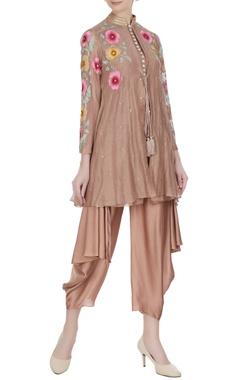 Aditi Somani Brown chanderi floral embroidered jacket set