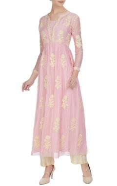 Aditi Somani Pink chikan embroidered chanderi kurta set