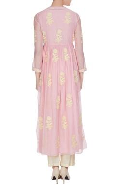 Pink chikan embroidered chanderi kurta set