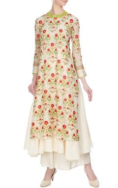 Aditi Somani Off-white chanderi aari embroidered kurta with inner slip & pants
