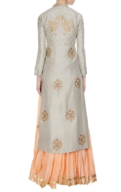Grey raw silk hand embroidered front open jacket with peach tiered dress