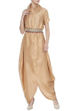 Aditi Somani Beige silk cowl neck jumpsuit with embroidered belt