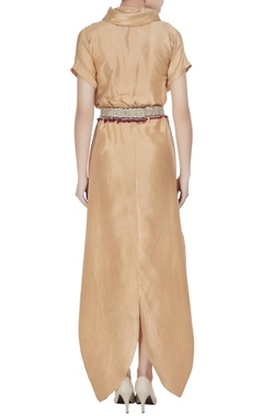 Beige silk cowl neck jumpsuit with embroidered belt