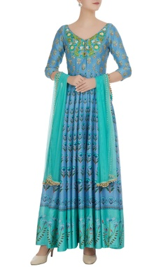 Esha Koul Sky blue chanderi sequin embroidered & printed anarkali with dupatta