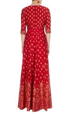 Red printed & threadwork anarkali with dupatta