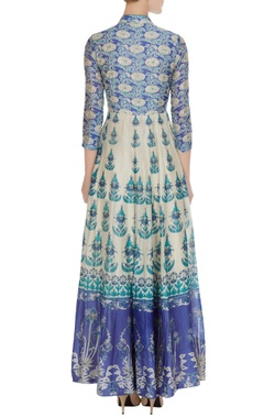 White & blue hand embroidered anarkali with dupatta