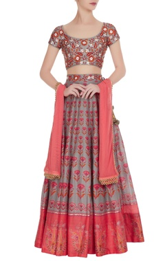 Grey & pink printed lehenga with embroidered blouse & dupatta