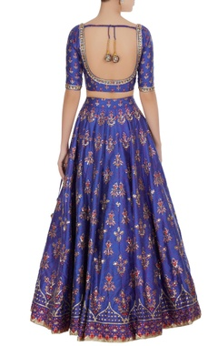 Royal blue raw silk printed & sequin lehenga set