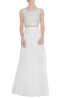 Esha Koul White georgette gota embroidered crop top with palazzos