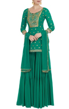 Jade green georgette kurta with sharara pants & dupatta