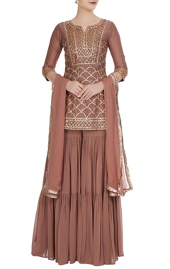 Champagne georgette gota kurta with sharara & dupatta