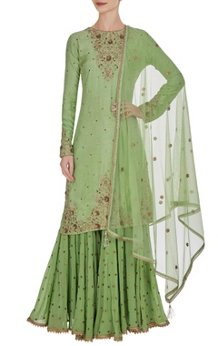 Leaf green tussar silk hand embroidered sequin kurta with sharara pants & net dupatta
