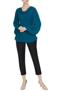 Gauri & Nainika Blue cowl neckline long sleeve moss georgette blouse