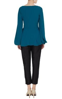 Blue cowl neckline long sleeve moss georgette blouse