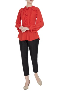 Gauri & Nainika Red moss georgette frilled blouse