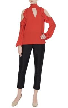Gauri & Nainika Orange moss georgette cold-shoulder blouse